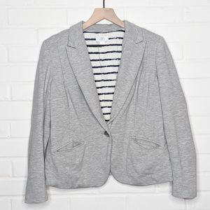 Ann Taylor Loft Knit Blazer Heather Gray Soft 4